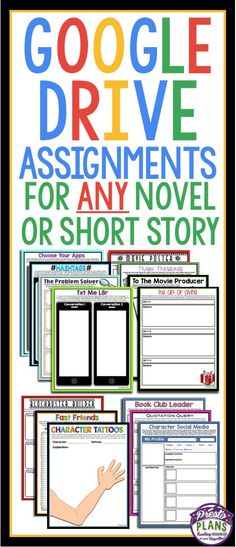 Short Story & Novel Assignments Formatted For Google Slides & Google Drive Sharing! 45 Assignments In Total!