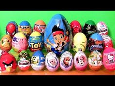 ▶ 24 Surprise Eggs Kinder Frozen Disney Princess Anna Elsa Playdoh PeppaPig AngryBirds Giant Jake Cars - YouTube