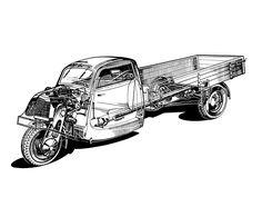 Tempo Hanseat Pritsche '1949–56 3rd Wheel, Engine Types, Car Engine, Technical Drawing, All Cars, Cutaway, Camper Van, Car Ins, Bugatti