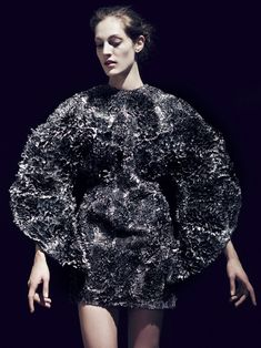 Fashion as Art - amazing 3D dress made using iron, resin & fabric, sculpted with magnets to create surface textures inspired by nature; sculptural fashion // Iris van Herpen