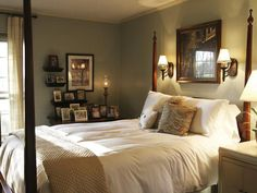 Traditional Bedrooms from Lori May on HGTV || NOTES: Another nice wall coloring for something not brown, but still earthy.