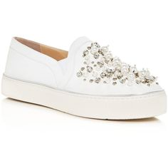 Stuart Weitzman Decor Embellished Slip On Platform Sneakers (800 100 LBP) ❤ liked on Polyvore featuring shoes, sneakers, white, white trainers, slip-on shoes, white platform shoes, platform slip-on sneakers and platform trainers