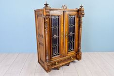Antique Gothic Wall Cabinet, Ornamental Storage Furniture with Hand Carved Fluted Columns, with Two Brand Stained Glass Door Panels, Gothic Furniture, Antique Furniture, Modern Classic, Classic Style, Fluted Columns, Stained Glass Door, Door Panels, Wall Cabinets, Vintage Walls
