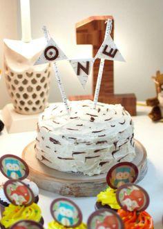 First Birthday Cake Wild and One Woodland Friends Owl Fox Bunny Birch Feathers…