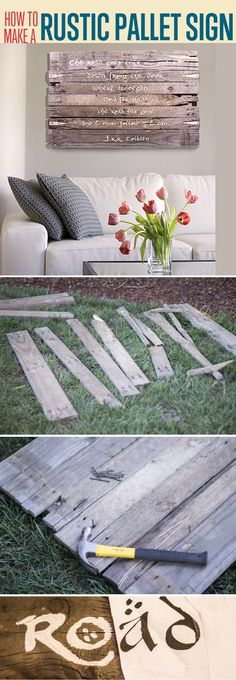 Simple Woodworking Designs | Pallet Wood Wall Art by DIY Ready at http://diyready.com/easy-woodworking-projects/