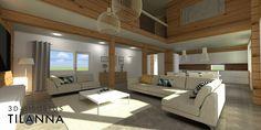 3D - sisustussuunnittelu / Hirsitalon skandinaavinen olohuone, Secto-valaisimet (Octo ja 4200), akustiikkapaneeli Hiljaiset Puut, scandinavian living room, log house / 3D-Sisustus Tilanna, sisustussuunnittelija Jyväskylä