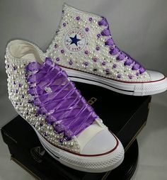 Items similar to Wedding Converse- Bridal Sneakers- Bling & Pearls Custom Converse Sneakers- Bridal Chuck Taylors- Wedding Sneakers- Converse hochzeit- Bride on Etsy Wedding Tennis Shoes, Purple Tennis Shoes, Wedding Sneakers, Bedazzled Converse, Bridal Converse, Purple Converse, Homecoming Shoes, Prom Shoes, Converse Wedges