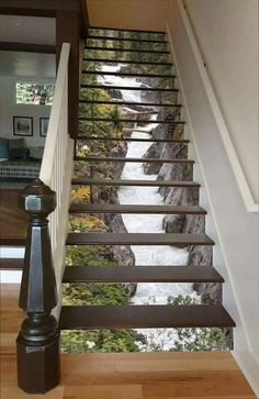 Waterfall painted on stairs
