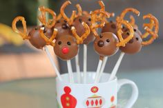 Reindeer round cake pops.   Whizz up Oreo biscuits, add in a dollop or two of cream cheese, roll into balls and decorate as you see fit. THAT simple. Pretzels for the antlers and a little choc smartie for the nose...amazing!   I'm also going to try making Christmas puddings by adding a bit of melted dark choc into the mixture to get a richer colour and consistency and use white icing to decorate. Can't wait!!