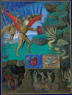 Saint Michel combattant le dragon Heures d'Étienne Chevalier, enluminées par Jean Fouquet Londres, Upton House, Collection Lord Bearsted, Cat. n°184