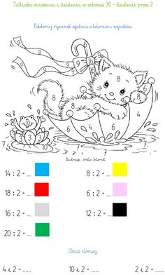 TABLICZKA MNOŻENIA I DZIELENIA W ZAKRESIE 30 - DZIELENIE PRZEZ 2 | BLOG EDUKACYJNY DLA DZIECI Kids Math Worksheets, Math Activities, Teaching Kids, Kids Learning, Math Crafts, File Folder Activities, Clever Kids, School Frame, Coloring Pages Inspirational