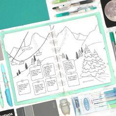 Bullet journal weekly layout, ski lift drawing, Winter drawing. | @planlikethat