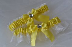 Wedding Garter Set in Canary Yellow with White by ElegantGarters, $26.00
