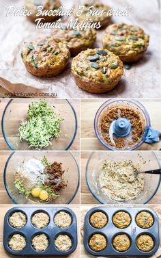Nut Free Zucchini and Sun-Dried Tomato Muffins - paleo, gluten free, dairy free and sugar free. Kid friendly and perfect for lunch boxes. Click for recipe: http://eatdrinkpaleo.com.au/paleo-zucchini-muffins-with-sun-dried-tomatoes-recipe/