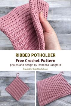 3 Double Sided Crochet Potholders Patterns You'll Love- Ribbed Potholder Double Sided Free Crochet Pattern If you like to cook and bake you'll most certainly appreciate these double sided crochet potholders patterns. They are perfect for your kitchen. Crochet Hot Pads, Bag Crochet, Crochet Diy, Crochet Potholders, Crochet Home, Love Crochet, Crochet Gifts, Crochet Mandala, Crochet Afghans