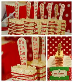 Class party: Rice Krispy Treats with stamped wooden sticks!