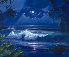 Painted by Scott Westmoreland, Lanai Luna wall mural from Murals Your Way will add a distinctive touch to any room. Costa, Peacock Pictures, Murals Your Way, Shoot The Moon, Beautiful Ocean, Lanai, Beach Art, Ocean Waves, Landscape Art