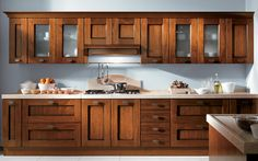 cocina estilo rustico de madera cerezo