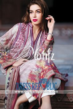 Collar Neck Digital Print Embroidered Shirt Motifz Embroidered Lawn Collection 2014 for Eid