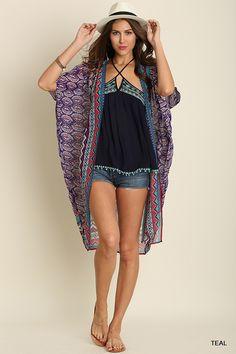 Take Me There Sheer Print Kimono