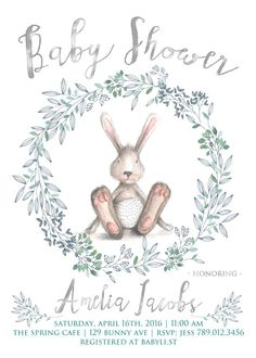 Bunny Baby Shower Invitation Printable Bunny by INVITEDbyAudriana