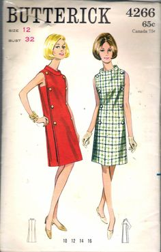 Butterick 4266 Misses Double Breasted Funnel Collar Dress Pattern Womens Vintage Sewing Pattern Size 12 Bust 32 Uncut - Pattern Gate Vintage Outfits, 1960s Outfits, Vintage Dresses 1960s, Vintage Dress Patterns, Vestidos Vintage, Clothing Patterns, Sixties Fashion, Retro Fashion, Vintage Fashion