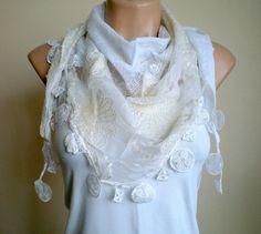 White Scarf Lace Scarf  Wedding Shawl Neckwarmer by fizzaccessory, $32.00