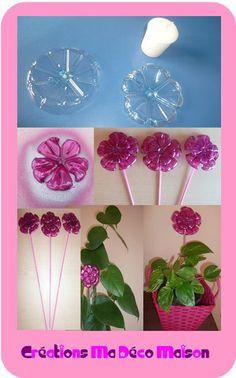 Double fleur en bouteilles plastiques + orchidée qui pousse | Créations Ma Déco Maison