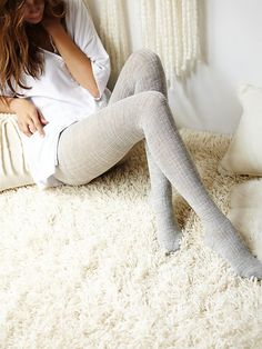 Hansel From Basel Womens Blackbird Rib Tight from Free People. Shop more products from Free People on Wanelo. Thick Tights, Wool Tights, Winter Tights, Foto Real, Grey Outfit, Cozy Fashion, Leggings, Tights Outfit, Fall Shoes