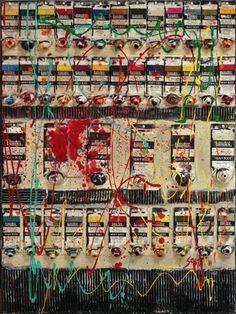 Collage multicolore tableau contemporain hot sophie - Peinture avec effet texture ...