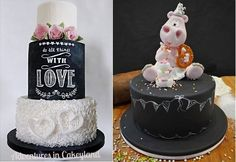 chalkboard cakes by Adventures in Cakeyland using Kara's, Violet Cake Shop and Cake Made tutorials left, Betty's Sugar Dreams plus tutortial for topper Beautiful Wedding Cakes, Beautiful Cakes, Chalkboard Cake, Violet Cakes, Informal Weddings, Fancy Cookies, Cupcake Cakes, Cupcakes, Pearl And Lace