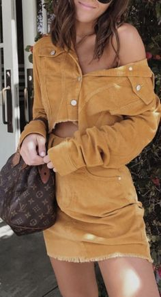 denim on denim outfit | yellow corduroy crop denim jacket + yellow corduroy denim skirt + louis vuitton speedy bag | urban outfitters outfit | urban street style outfit ideas