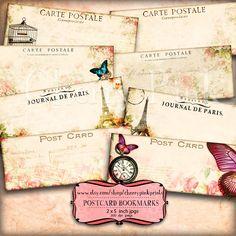 Digital bookmark POSTCARD BOOKMARKS  2 x 5 inch bookmark , 8 vintage designs, incl Marie Antoinette, seashells, butterflys.. $4.00, via Etsy.