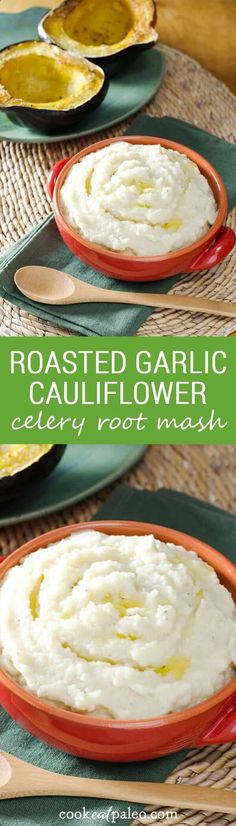 Roasted garlic cauliflower celery root mash is an easy paleo side for any meal. Top it with easy paleo gravy. It's a great substitute for mashed potatoes. ~ cookeatpaleo.com