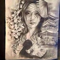 Mais Asian Tattoos, Leg Tattoos, Body Art Tattoos, Sleeve Tattoos, Japanese Tattoo Art, Japanese Tattoo Designs, Japanese Art, Geisha Tattoo Design, Geisha Tattoos