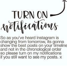 As you may be aware Instagram has decided to be like Facebook and use algorithms to show you what it thinks you should see rather than what you have chosen to see.  So please turn on the post notifications by clicking on the three dots () where the arrow is pointing. Thank you and have a wonderful day/night! by inspirational_quotes968