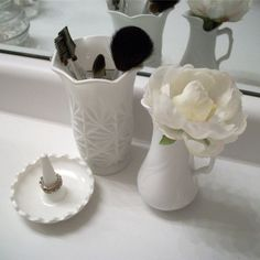 a trio of vintage white glass for my bathroom