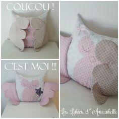 Coussin doudou Chouette / Hibou Coucou bébé ! Tissu France Duval argenté