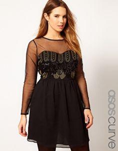 ASOS CURVE Dress With Deco Embellishment