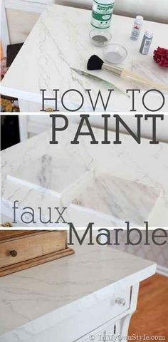 Paint a tabletop to give it a faux marble effect. | 23 DIY Ways To Fake It Until You Make It