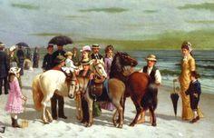 "Artist, Samuel S. Carr (1837-1908) -  ""On the Beach at Coney Island"" Gilded Age NY, c.1879"