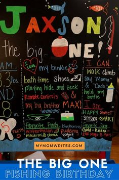 """DIY CHALKBOARD -- The """"Big One"""" Fishing Birthday Party decor and ideas! -- MyMomWrites.com (Mommy Blog)"""
