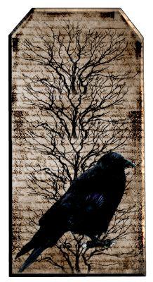 Free Primitive Grunge Crow Hang Tag Sheet