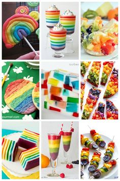With spring comes rain, and with rain comes rainbows. Celebrate the season with some truly fun and colorful rainbow food your kids will love! Whether it's sweet frosted cookies or skewers of fresh fruit, there are plenty of rainbow recipes to be found! Rainbow Food, Rainbow Treats, Rainbow Pizza, Rainbow Dance, Rainbow Unicorn, Snacks Saludables, Dark Chocolate Cakes, Rainbow Birthday, 4th Birthday