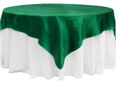 """Square+72""""+Satin+Table+Overlay+-+Emerald+Green"""