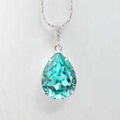 Teal Blue Necklace Swarovski Crystal Light Turquoise Necklace Bridal Necklace Bridesmaid Gift Something Blue Robins Egg Tiffany Blue on Etsy, $22.99