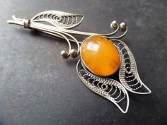 Butterscotch Amber Brooch 70's Baltic Genuine by CodettiSupply