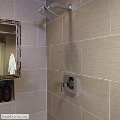 Infusion Taupe featured on the Fabric Look Tile page from South Cypress.  #shower, #flooring, #bathroom