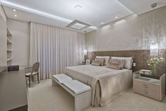 Idea para iluminación para dormitorio principal  Luxo, conforto e equilíbrio em casa curitibana (Foto: Marcelo Stammer / divulgação) #interiorescasasluxo #iluminaciondormitorio