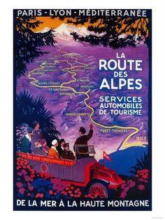 La Route Des Alpes Vintage Poster - Europe Kunst von Lantern Press bei AllPosters.de